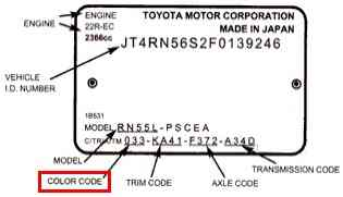Color Code for Toyota Prior to 1989 (Plate)