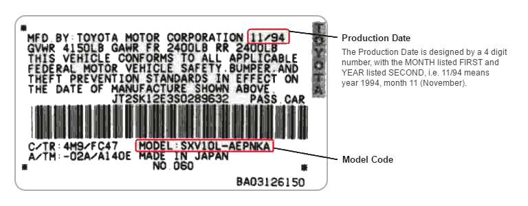 Toyota Model Code and Production Date